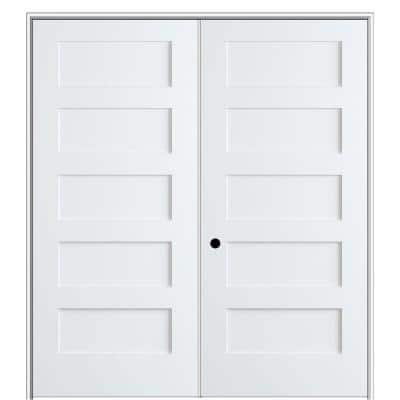 Shaker Flat Panel 48 in. x 80 in. Right Hand Solid Core Primed Composite Double Prehung French Door with 4-9/16 in. Jamb