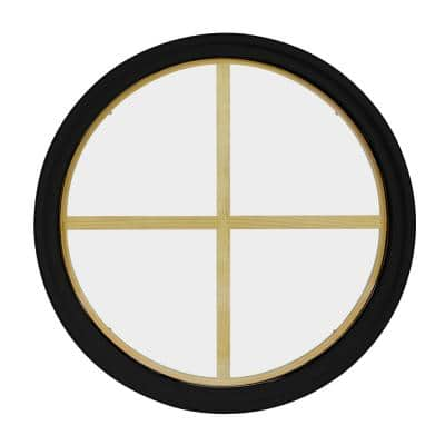 30 in. x 30 in. Round Black 4-9/16 in. Jamb 4-Lite Grille Geometric Aluminum Clad Wood Window