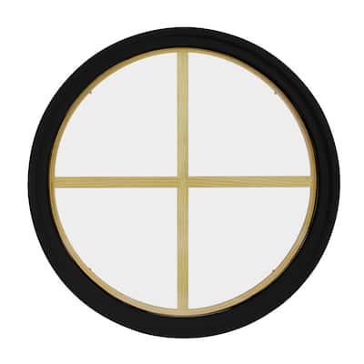 48 in. x 48 in. Round Black 6-9/16 in. Jamb 3-1/2 in. Interior Trim 4-Lite Grille Geometric Aluminum Clad Wood Window