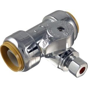 3/4 in. Push-to-Connect x 3/4 in. Push-to-Connect x 1/4 in. Compression Chrome-Plated Brass Service Stop Tee