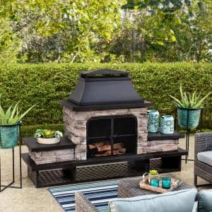 Maryland Bel Aire 48.03 in. Black Fireplace with Faux Stack Stone Finish