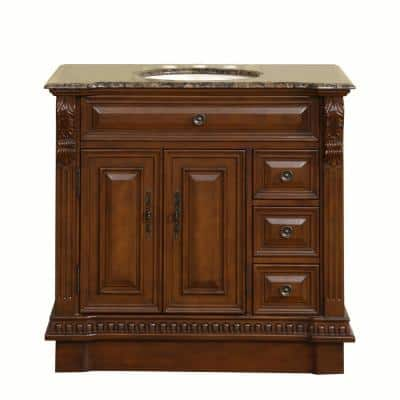 38 in. W x 22 in. D Vanity in English Chestnut with Granite Vanity Top in Baltic Brown with Ivory Basin