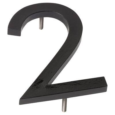 8 in. Black Aluminum Floating or Flat Modern House Number 2