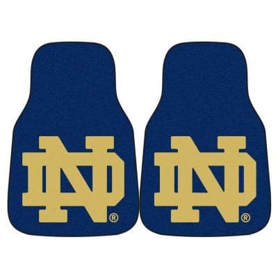 Notre Dame University 18 in. x 27 in. 2-Piece Carpeted Car Mat Set
