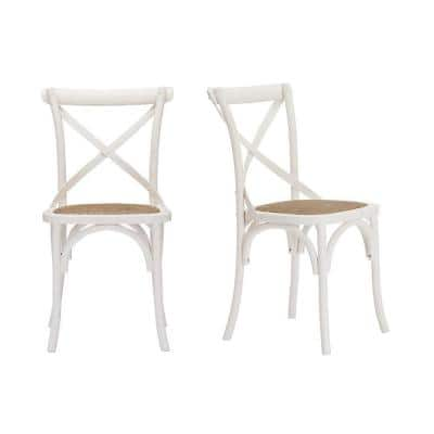 Mavery Ivory Wood Dining Chair with Cross Back and Woven Seat (Set of 2) (19 in. W x 34.6 in. H)