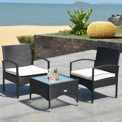 3-Piece Wicker Patio Conversation Set with Cushions Coffee Table & 2 Rattan Chair