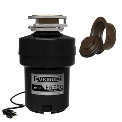 Designer Series 3/4 HP Continuous Feed Garbage Disposal with Oil Rubbed Bronze Sink Flange and Attached Power Cord