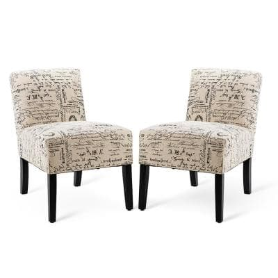27 in. Beige Letter Print Linen 2-Seats Sofas with Solid Wood Legs