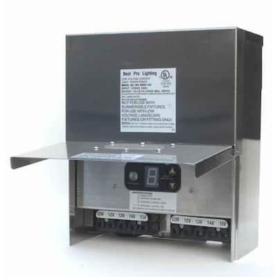Low Voltage Multi-Tap 600-Watt 12-15-Volt Stainless Steel Landscape Lighting Transformer