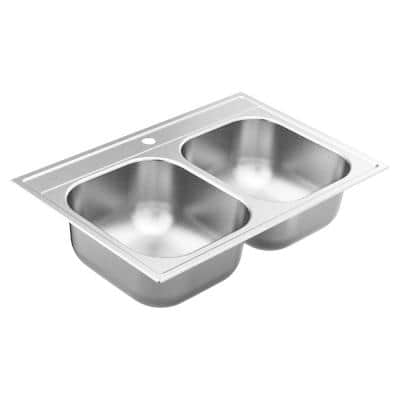 2000 Series Stainless Steel 33 in. 1-Hole Double Bowl Drop-In Kitchen Sink with 8 in. Depth