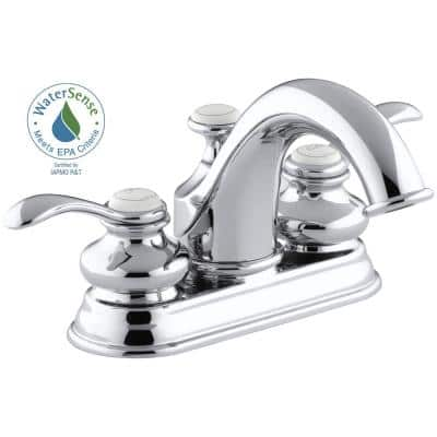 Fairfax 4 in. Centerset 2-Handle Water-Saving Bathroom Faucet in Polished Chrome with Lever Handles