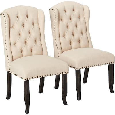 Kellil Beige Linen Wingback Side Chairs (Set of 2)