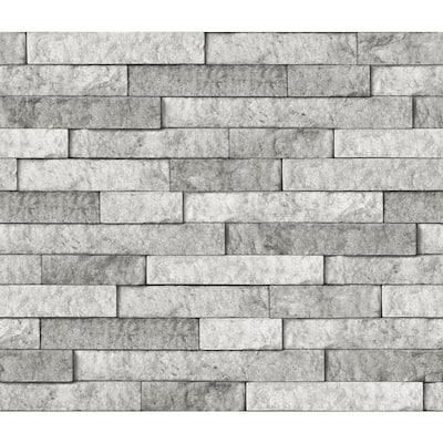 Grey Stone Wall Applique Peel and Stick Backsplash