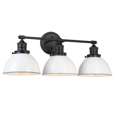 Savannah Farmhouse 3-Light Matte Black Vanity Light with White Shades