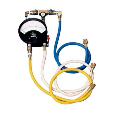 Portable Backflow Preventer Test Kit for RPZAs and DCVAs with Gauge-PSID, Test Valves, 3 Hoses, 3 Adapters, Strap