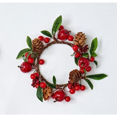 """3.25"""" GREEN LEAVES, RED APPLES/BERRIES AND PINECONE CANDLE RING (Set of 4)"""