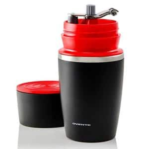 Single Serve Red Coffee Grinder, 2-in-1 Carafe Coffee Maker Machine, With Insulated Cup