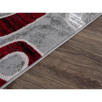 Emberly Red Geometric 2 ft. x 3 ft. Scatter Area Rug