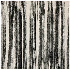 Retro Dark Grey/Light Grey 8 ft. x 8 ft. Square Area Rug