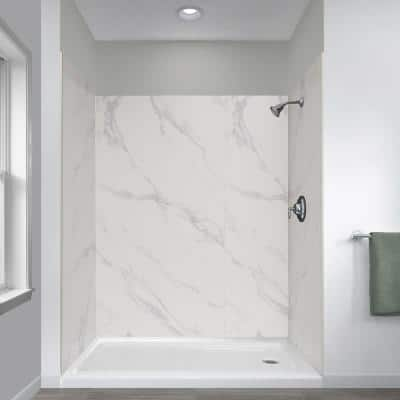 Jetcoat 32 in. x 60 in. x 78 in. 5-Piece Shower Kit in Carrara White with Right Drain 30 in. Base in White