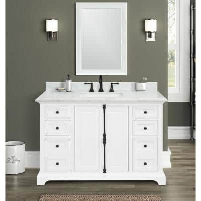 Loda 49 in. W x 22 in. D x 34.50 in. H Bath Vanity in White with Marble Vanity Top in White with Basin
