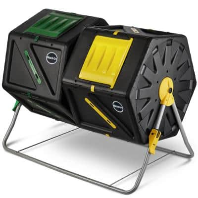 2 x 27.7 Gal./105 L Dual Chamber Tumbling Composter Outdoor Bin w/ Easy-Turn System - Gardening Gloves Included