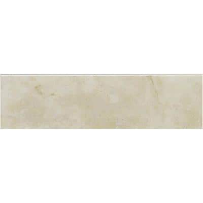 Oasis Beige Glossy 3 in. x 9 in. Ceramic Wall Bullnose Tile (3.44 sq. ft./Case)