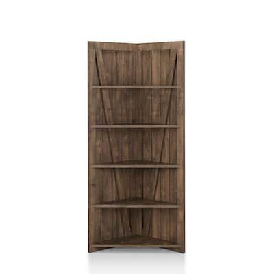 Helsa Reclaimed Oak 5-Shelf Corner Display Bookcase
