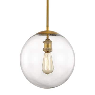 12 in. 1-Light Aged Brass Globe Pendant Vintage Bulbs Included