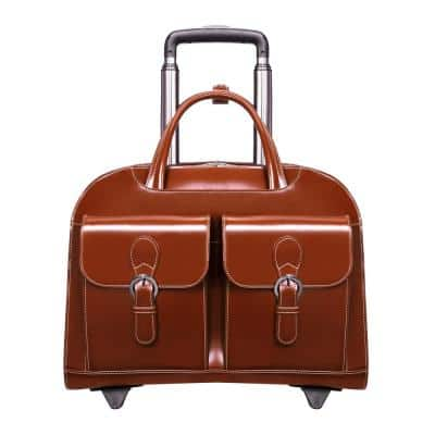 McKlein DAVIS, Top Grain Cowhide Leather, 15 in Wheeled Ladies' Laptop Briefcase, Brown (96184A)