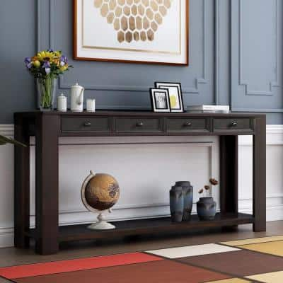 64 in. Black Standard Rectangle Wood Console Table with 4-Drawers