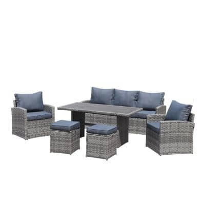 Viva 6-Piece Wicker Patio Outdoor Dining Table Set with Dark Blue Cushions