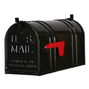 Post-Mount Double Door Steel Mailbox, Black