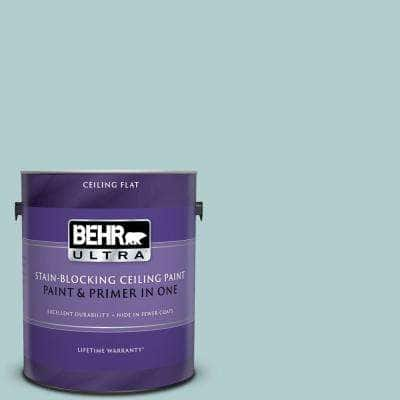 1 gal. #PPU13-15 Clear Pond Ceiling Flat Interior Paint and Primer in One