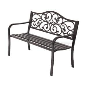 Classic 50 in. 2-Person Dark Brown Metal Outdoor Bench