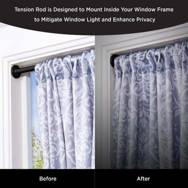 60 In Tension Curtain Rod Black, How To Install Curtain Tension Rods