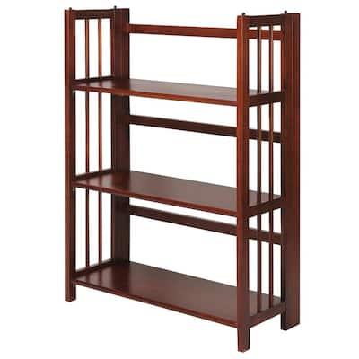 38 in. Walnut New Wood 3-Shelf Etagere Bookcase