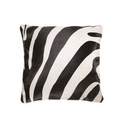 Josephine Black and White Animal Print 18 in. x 18 in. Cowhide Throw Pillow