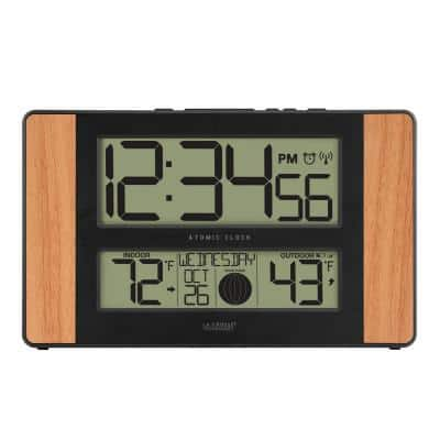 11 in. x 7 in. Atomic Digital Clock with Temperature and Moon Phase in Oak
