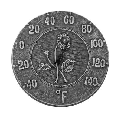 12 in. Antique Black Terra Cotta Thermometer