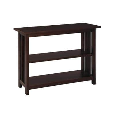 Mission 24 in. Espresso Wood 2-shelf Etagere Bookcase with Adjustable Shelves