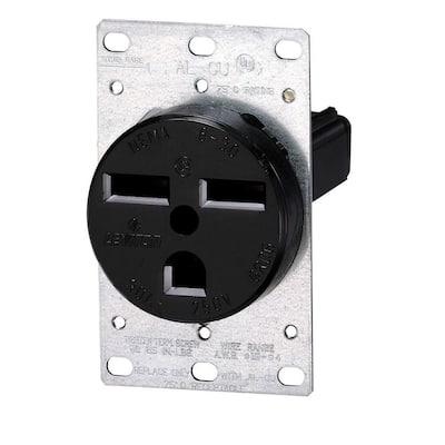 30 Amp 2-Pole Flush Mount Shallow Single Outlet, Black