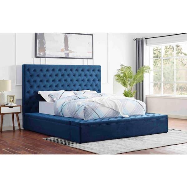 Best Master Furniture Jonathan Velvet, Blue Velvet Queen Bed With Storage