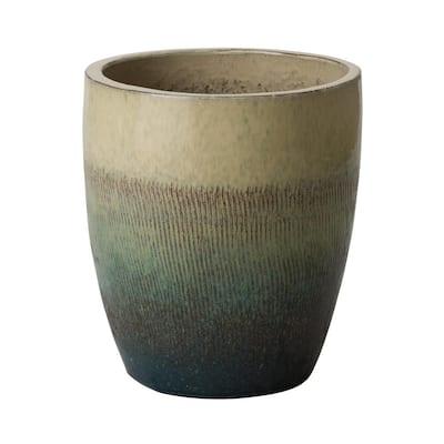 Bullet 15.5 in. Bayside Green Ceramic Round Planter