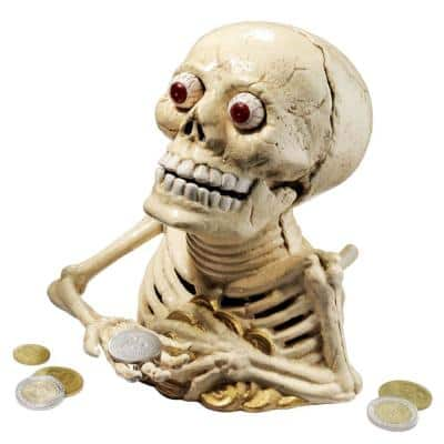6.5 in. x 6 in. Bugged-Out Hungry Skeleton Cast Iron Mechanical Coin Bank