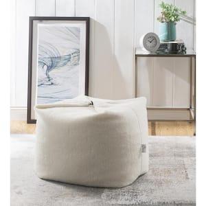 Magic Sherpa Pouf Cream White Bean Bag Chair Convertible Ottoman/Floor Pillow
