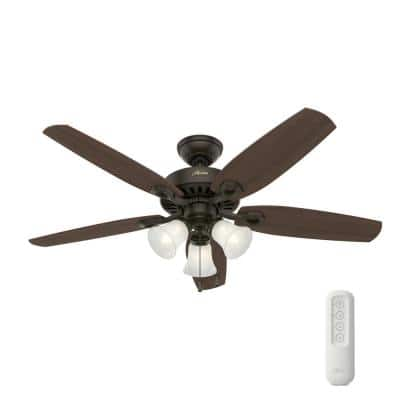 Builder Low Profile 52 in. Indoor Brushed Nickel Ceiling Fan With LED Light Kit and Remote