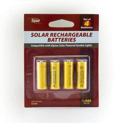 2/3 AAA Ni-CD Replacement Solar Rechargeable Batteries for Solar Powered Garden Lights, Set of 4