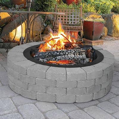 36 in. x 10 in. Round Steel Wood Fire Pit Ring in Black Porcelain Coated Finish