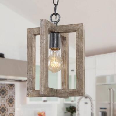 Rustic Wood Mini Pendant Light, Niki 1-Light Industrial Farmhouse Pendant Light in Minimalist style